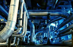 Pipes, Tubes, Machinery And Steam Turbine Royalty Free Stock Photos