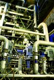 Pipes, tubes, machinery and steam turbine Royalty Free Stock Photo