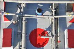 Pipes and tubes on tanker ship Stock Photography