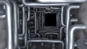 Pipes in tunnel render Stock Photography