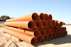 Pipes-urban water. Stock pipes for water conveyance Royalty Free Stock Photo