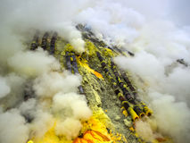 Pipes Used for Sulfur Mining at Kawah Ijen Volcano, Java, Indonesia Stock Image