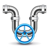 Pipes and valve  on white vector Royalty Free Stock Photo