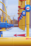 Pipes and valves on the gas station. Pipes and valves on the gas distribution station Stock Photos