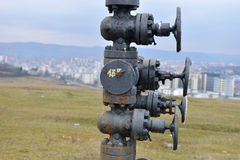Pipes and valves of a gas system. Fragment of infrastructure on Stock Images