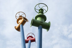 Pipes and valves. A monument to urban water supply in Mytishchi Royalty Free Stock Photos