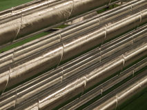 Pipes for ventilation. Shiny pipes for ventilation of industrial premises Royalty Free Stock Image