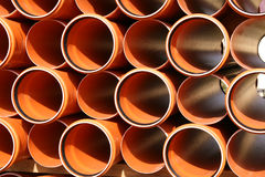 Pipes warehouse abstract. Colorful PVC pipes abstract. Industrial object concept royalty free stock photo