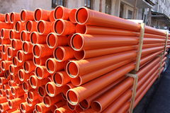 Pipes for water. Pile used in construction stock photo