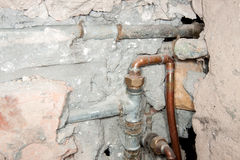 The pipes from the water during the renovation Stock Image