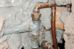 The pipes from the water during the renovation Stock Photography