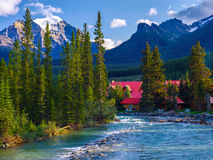 Pipestone river, lake louise village cabins Stock Photos