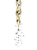 Pipeta de vidro transparente com um gotejamento líquido dourado Imagens de Stock