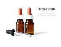 Pipeta e frascos marrons da medicina Foto de Stock Royalty Free