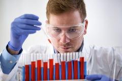Pipetta attraente e funzionamento della tenuta del chimico al laboratorio Immagine Stock Libera da Diritti
