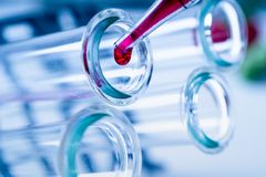 Pipette adding fluid to one of several test tubes .medical glassware royalty free stock photo