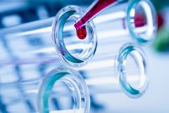 Pipette adding fluid to one of several test tubes .medical glassware. royalty free stock images