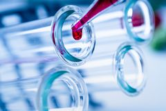 Pipette adding fluid to one of several test tubes .medical glassware.. royalty free stock photo
