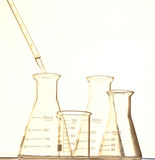 The pipette and beaker Stock Image