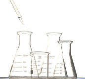 The pipette and beaker. The pipette put water into the triangular flask and  beaker Royalty Free Stock Photo