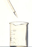 Pipette  and beaker. Pipette put the water into beaker Royalty Free Stock Photography