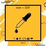 Pipette icon with drop. Element for your design Royalty Free Stock Photo