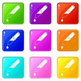 Pipette icons 9 set Royalty Free Stock Images