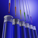 Pipette and test tubes as scientific experiment Stock Photo
