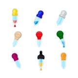 Pipetten-Ikone Satz verschiedene Farbpipetten mit dem Blut, Wasser oder Öl lokalisiert Stockfotografie
