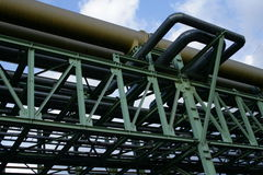 Pipework. A giant tube of pipework, an exhaust pipe, or oil pipeline, or gas pipe, seen from below stock photo