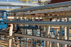 Pipework at a petrochemical plant stock images