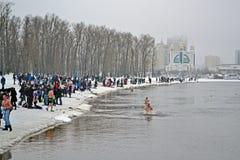 Epiphany (Kreshchenya) morning in Hydropark, Kiev. KIEV - JAN 19: Epiphany (Kreshchenya) morning in Hydropark on January 19, 2013 in Kiev, Ukraine. People Royalty Free Stock Image