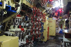 Piping. Interior of soviet submarine in San Diego Maritime Museum Royalty Free Stock Photo