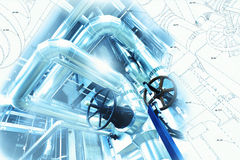 Piping design mixed with industrial equipment photo Royalty Free Stock Photos