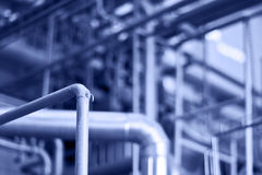 Piping knot. A factory piping system with the labyrinth of tubes stock images