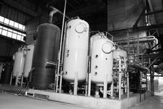 Piping at a power plant. Different size and shaped pipes at a power plant Stock Images