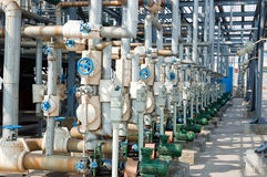 Piping and valves in Petrochemical industry Royalty Free Stock Photos