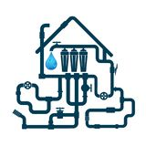 Piping and water filter. Pipeline and water filter for home Royalty Free Stock Photo