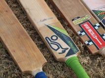 Pipistrelli di cricket su un campo dopo un gioco fotografia stock libera da diritti