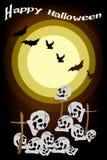 Pipistrelli diabolici che sorvolano il cimitero sulla notte Backg Immagini Stock