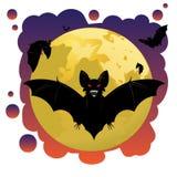 Pipistrelli e luna Fotografia Stock