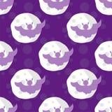 Pipistrelli senza cuciture di Halloween del modello sulla luna Illustrazione Vettoriale