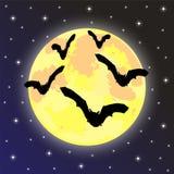 Pipistrelli sui precedenti della luna Immagini Stock Libere da Diritti