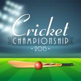 Pipistrello brillante con la palla per il campionato del cricket Fotografia Stock