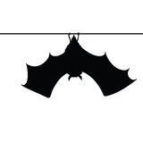 Pipistrello che appende su una siluetta della corda Fotografia Stock Libera da Diritti