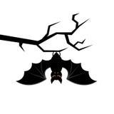 Pipistrello del fumetto che appende sul ramo di albero Scheda felice di Halloween Illustrazione di vettore Immagine Stock