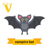 Pipistrello di vampiro Lettera V Alfabeto animale dei bambini svegli nel vettore Fotografia Stock