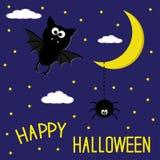 Pipistrello e ragno. Notte stellata. Luna e nuvole. Halloween felice c Fotografia Stock