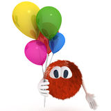 Pipo. Carton character with ballons over white Royalty Free Stock Photography