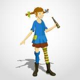 Pippi, das mit Fernglas longstocking ist Lizenzfreie Stockfotografie